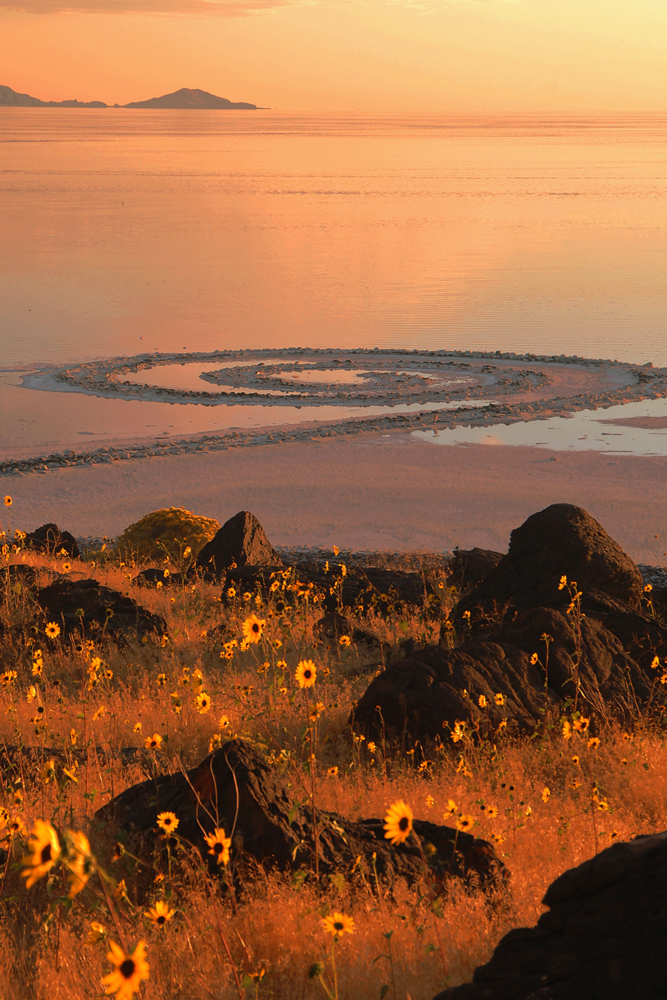 photographyTour/Spiral Jetty & wildflowers -53-1 72 dpi.jpg, The Spiral Jetty is a famous piece of landscape art near Golden Spike NHS
