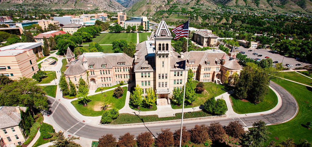 Old Main at Utah State University, by USU PR